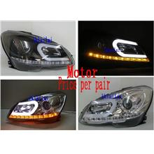 Mercedes Benz W204 '12 DRL U-Bar Projector Head Lamp With Motor