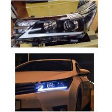 Toyota Altis 2014-2017 Light Bar LED Projector Head Lamp Black Housing