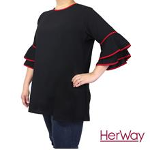 62272de3f8 HERWAY PLUS SIZE Ladies Piped Belt Blouse HW9050 (Black)