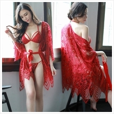 adb18ab617 MS480 Red Chantilly Lace Bikini Robe Sleepwear Set Sexy Lingerie