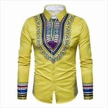 GEOMETRIC NATIONAL PRINT LONG SLEEVE SHIRT (YELLOW)