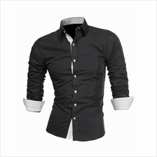 TURNDOWN COLLAR PANEL DESIGN FORMAL SHIRT (WHITE AND BLACK)