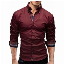 BUTTON DOWN DOUBLE LAYER COLLAR SHIRT (WINE RED)