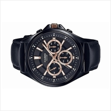 Casio Men Multi Hands Stainless Steel Leather Watch MTP-E303BL-1A2VDF