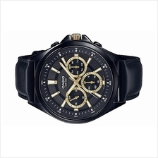 Casio Men Multi Hands Stainless Steel Leather Watch MTP-E303BL-1AVDF