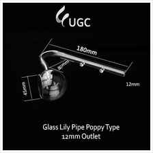 Glass Lily Pipe Poppy Type 12mm Outlet(Aquarium/Aquascape/Clear)
