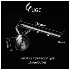 Glass Lily Pipe Poppy Type 16mm Outlet (Aquarium/Aquascape/Clear)