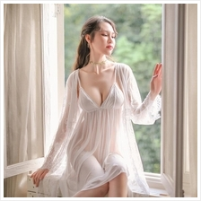 3c8cc878e6 MS520 White Lace Babydoll Dress and Robe Sleepwear Set Sexy Lingerie