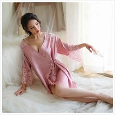 1c7dfa5adc MS523 Ice Silk Floral Lace Robe Sleepwear Sexy Lingerie (2 Colour)
