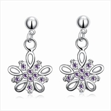 PAIR OF CHIC FLORAL SHAPE ZIRCON GLITTER (PURPLE)