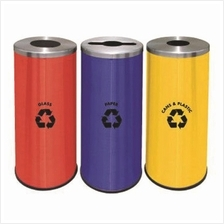 Round Recycle Bins 3 in 1 c/w Mild Steel Body & S/S Cover 295Diax760H