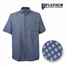 PLATINUM Men 's Big Plus Size Chambray SS Shirt PM8272 (Navy)