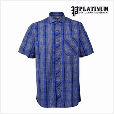 PLATINUM BIG SIZE 100% Fine Cotton SS Checked Shirt PM8263 (Blue)