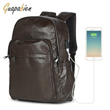 ede41d325d6a BROWN Guapabien Men Backpack Waterproof USB Charge Business Bag