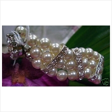 Colour Choices 18KGP Diamond Swarovski Pearl Bracelet