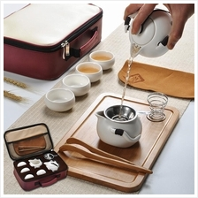 Traditional Teapot Tea Cups Set with Bamboo Tray Travel Bag Good Gifts