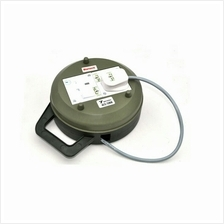 JS MARTECH UK 3 PIN ROUND TRAILING WIRE BOX W/ 2 WAY POWER SOCKET EXTE