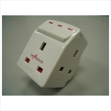 13A 3 way Adaptor c/w Individual switch & Surge Protector, fuse
