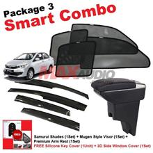 P3* PERODUA BEZZA SAMURAI SHADES + Arm Rest + Door Visor