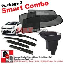 P3* PERODUA AXIA SAMURAI SHADES + Arm Rest + Door Visor