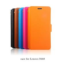 Cow Leather Lenovo S660 Flip Case Cover + Free Screen Protector