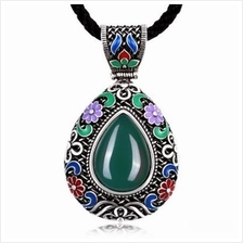N015-C WOMEN NATIONAL STYLE WATER DROP SHAPE DIAMOND NECKLACE (GREEN)
