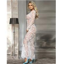 CELLY (M-3XL) White Long Sleeve Lace Sleepwear Gown (CSOH R80497-2)