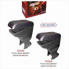 Perodua Axia/Bezza PVC Arm Rest Armrest Console Black Leather Red Stitching