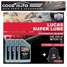 Lucas Super Lube Synthetic Blend 10W40 10W-40 Motor Oil 1L (4 Bottles)