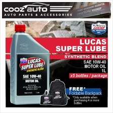 Lucas Super Lube Synthetic Blend 10W40 10W-40 Motor Oil 1L (5 Bottles)