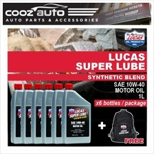 Lucas Super Lube Synthetic Blend 10W40 10W-40 Motor Oil 1L (6 Bottles)