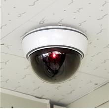 Dummy Dome LED CCTV Realistic Looking Security Camera W Flashing Red