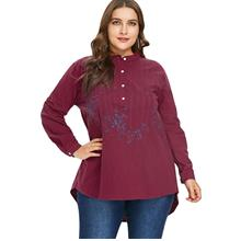 6696e65da0808 2X RED Plus Size Embroidered High Low Blouse