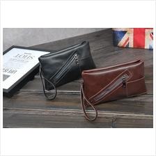 Men Small PU Leather Clutch Bag (Black / Brown)