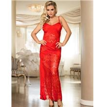 CELLY Red Lace Cross Open Back Long Dress (CSOH R80171)