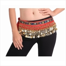 Belly Dance 248Gold Coins Waist Chain Waist Belt RED