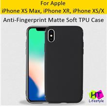 iPhone XS Max,XR,XS,X Anti Fingerprint Shockproof Matte Black TPU Case