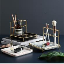 Marble and Gold Cosmetics Tray Makeup Brush Holder Jewelry Display