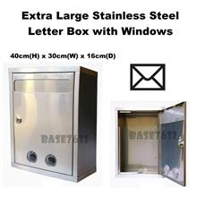 Extra Large Stainless Steel Window Hole Letter Mail Box 2343.1