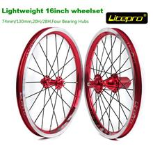 Litepro k-fun lightweight 16 folding bike wheelset 74/130 sealbearing
