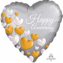 Happy Anniversary Heart Foil Balloon 38001 Gray
