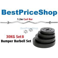 30kg Set B Top Grade Bumper Barbell Dumbbell Weightlifting Bar Gym
