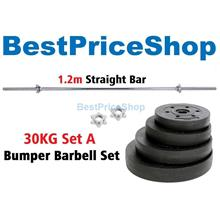 30kg Set A Top Grade Bumper Barbell Dumbbell Weightlifting Bar Gym