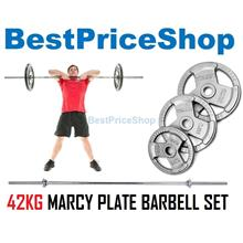 42kg Marcy Plate Weightlifting Barbell Set Dumbbell Workout Fitness
