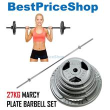 27kg Marcy Plate Weightlifting Barbell Set Dumbbell Workout Fitness