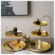 Golden Cosmetics Organizer Jewelry Stand with Tiers Countertop Decor