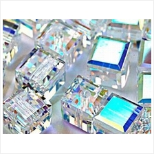 6pcs #5601 6mm Swarovski CRYSTAL AB Cube Square Beads