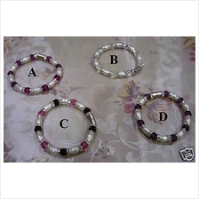 Elastic Natural Pearl Swarovski Crystal Bracelet 4 Colour choices