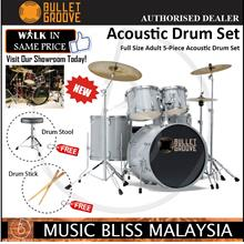 Bullet Groove Full Size Adult 5-Piece Acoustic Drum Set (Silver)
