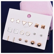 [Mine] Korean Fashion Sets of 9 pairs earring F256